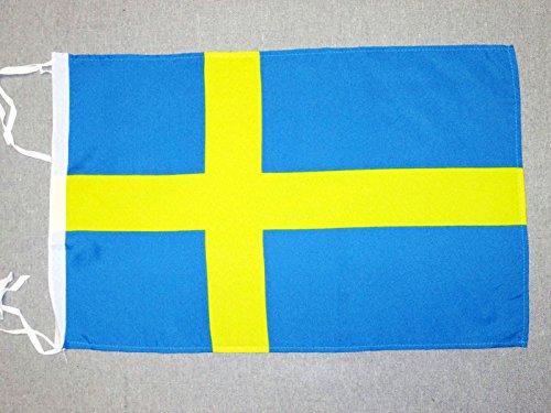 AZ FLAG Flagge SCHWEDEN 45x30cm mit Kordel - SCHWEDISCHE Fahne 30 x 45 cm - flaggen Top Qualität