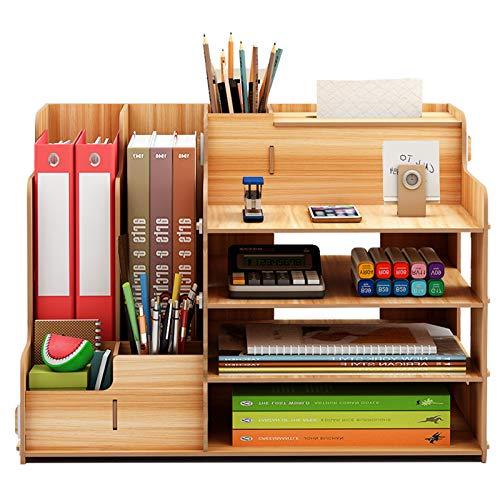 NEWSEE 卓上本立て 小物収納 木製 ペン立て 文房具入れ A4サイズ棚付き 丈夫 電子版日本語取り扱い説明書あり (ブラウン)