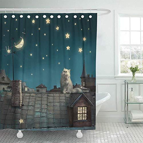 Duschdraperi vattentätt polyestertyg blå himmel älva natt se mer på min sida fantasi dröm stjärna katt måne sagoset med krokar dekorativt badrum