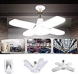 Cigopx LED Luz de garaje AC 85-265V 60W Luces de techo plegables deformables con 4 paneles ajustables 6000-6500k Luz blanca natural para garaje Almacén Taller Sótano Gimnasio Cocina