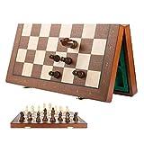 XWZJY Juego de ajedrez magnético de Madera Grande de 40 cm x 40 cm, Juego de ajedrez de Tablero Plegable clásico, estimula tu Cerebro, ejercita tu Mente para niños y Adultos