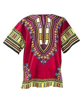 LOFBAZ African Dashiki Shirts For Men Women Hippie T Shirt Festival Clothing Print Boho Top 70s Tribal Africa Clothes Burgundy 5X-Large