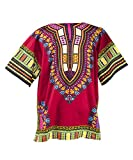 LOFBAZ African Dashiki Shirts For Men Women Hippie T Shirt Festival Clothing Print Boho Top 70s Tribal Africa Clothes Burgundy Large