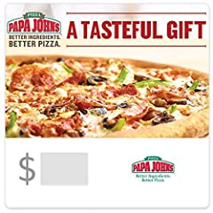 """Papa Johns. Better Ingredients. Better Pizza Perfect gift for """"hard to buy for"""" people on your shopping list. Papa John's Gift Cards are redeemable in the U.S., including AK and HI, only. No returns and no refunds on gift cards."""