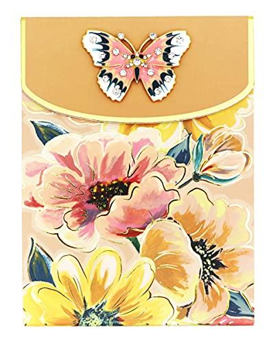 パンチスタジオ ノートパッド ブローチ付き (小さな花×ピンク×蝶) フローレット 47084