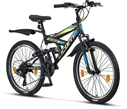 Licorne Bike Strong V Premium Mountainbike in 24 Zoll - Fahrrad für Jungen, Mädchen, Damen und Herren - Shimano 21 Gang-Schaltung - Vollfederung - Schwarz/Blau/Lime