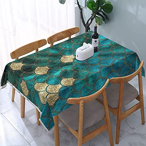 Mantel de Escamas de Sirena Verde Agua con Brillo Dorado, mesas rectangulares Reutilizables, Cubierta de Comedor, Cubierta de Mesa de poliéster, 137X183CM