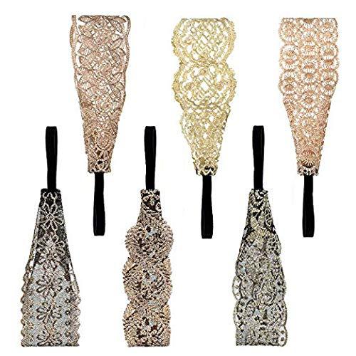 6 diademas de encaje, de Sushare, para mujeres y niñas, estilo bohemio, banda elástica para el pelo