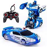 Vubkkty Transformator Ferngesteuertes Auto Spielzeug für Jungen, 2 in 1 rc Auto Kinder Roboter Spielzeug Auto mit Fernbedienung ab 6 7 8 9 10 Jahre Blau Weiss