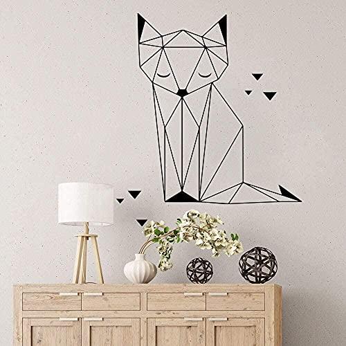 Pegatinas de pared calcomanías de pared removibles de PVC zorro geométrico origami gato triángulo pintura guardería dibujos animados para niños animales de la selva zorro dormitorio 65Cmx56Cm negro