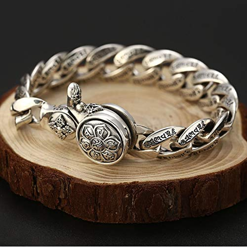 K-ONE 925 Big Vintage Trend Wild Vajra Pulsera Hombres Thai Silver Six-Character Mantra Pulsera Hombre Jewelry-22Cm, Silver