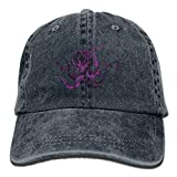 Hoswee Unisex Kappe/Baseballkappe, Purple Pattern Octopus Denim Hat Adjustable Mens Flag Baseball Hats