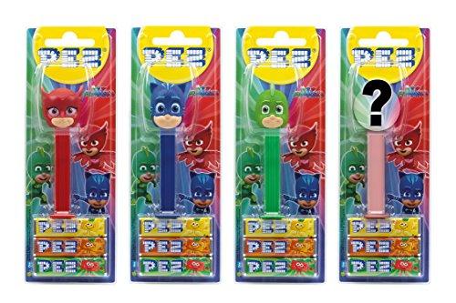 PEZ set de dispensadores PJ Masks (4 disp. con 3 recargas de caramelos PEZ de 8,5g c/u - 1 disp. PEZ 2 veces como sorpresa) + 2 paquetes de rec. (8 rec. de PEZ de 8,5g c/u)
