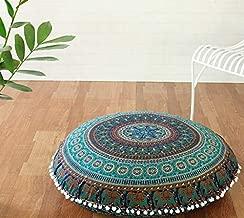 Popular Handicrafts Large Hippie Mandala Floor Pillow Cover - Cushion Cover - Pouf Cover Round Bohemian Yoga Decor Floor Cushion Case- 32 Blue