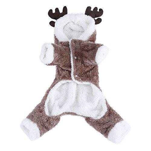 Suteres para Perros Suaves Y Acogedores para Mascotas Lindo Alce Disfraz De Navidad para Mascotas Cachorro De Perro Ropa De Otoo/Invierno Abrigo Clido (S) 0304