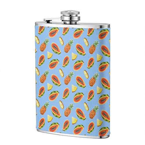 Aquarell Papaya und Ananas Muster 8OZ Edelstahl Hüftflasche Lustige Männer, Groomsman, Ehemann, Ehefrau, Frauen Schnaps