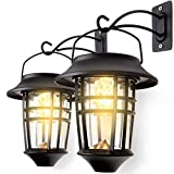 LeiDrail Solar Wall Lantern Lights Outdoor Hanging Lanterns Super Bright Warm White LED Wall Sconce Glass Landscape Lighting Decorative Waterproof with Hanging Hook - 2 Pack