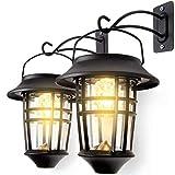 LeiDrail Applique per esterni da giardino Lampada da parete a LED ad energia solare a parete in acciaio inossidabile Lampada da parete resistente alle intemperie Illuminazione esterna 2 pezzi