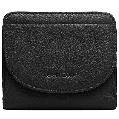 Portemonnaie Damen Klein RFID Schutz mit Münzfach Mini Geldbörse Frauen Portmonee Brieftasche Echtes Leder TEEMZONE(Schwarz)