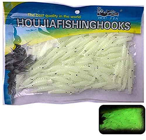 50 Unids Pesca Señuelos Suaves Plástico Luminoso Camarón Cebos Simulación Langostinos Para Aparejos Trucha Lubina Crappie Perfumado Gusanos Artificiales Topwater Señuelos (blanco)