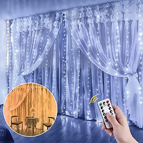 Anpro Luz de Cortina LED, Fuente de alimentación USB DC5V 300 LED Blanco cálido and luz de Cortina de Dos Colores Blanco frío, 3 * 3 Metros con Control Remoto, temporización LED de Cadena