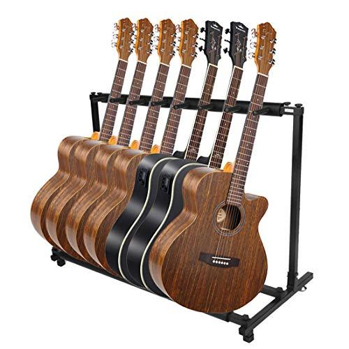 Soporte de guitarra Stand Soporte Suelo para 7/9 Guitarras se adapta a todas las guitarras acústicas eléctrico bajo soporte...
