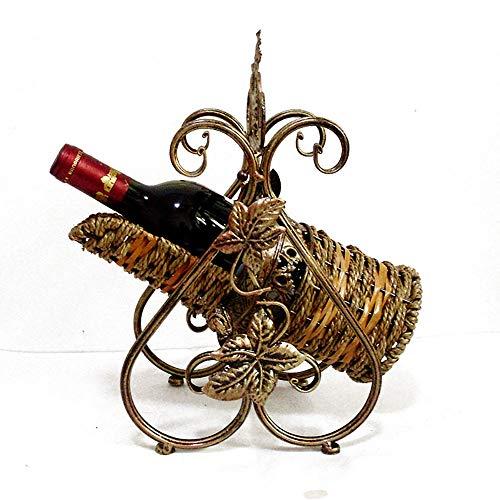 Qddan Weinregal Tabletop Weinflasche Racks Freistehende Metallaufbewahrungs Wein-Halter Retro Kreative Schmiedeeisen Dekor Standplatz for KücheCountertop Home Bar Dekorative Geschenke Klassisch