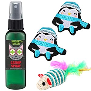 Smokey's Stash Catnip Spray with Dried Catnip Filled Penguins and sisal Rope Mouse Bundle