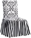 Classic Slipcovers Damask/Stripe Ruffled Long Skirt Dining Chair Slipcover, Black/White