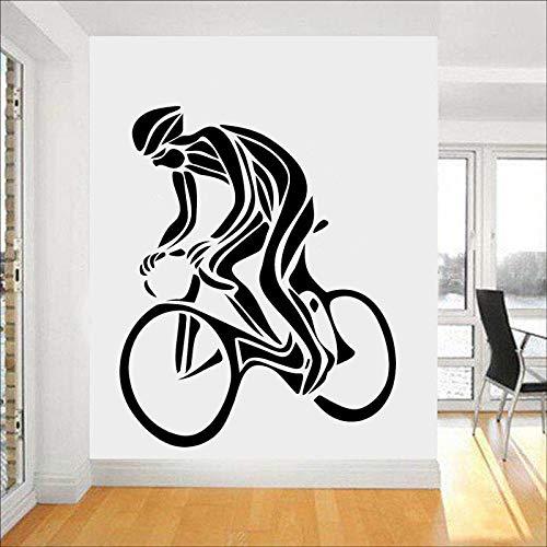 Calcomanía de pared de ciclismo, silueta deportiva, vinilo, pegatina para ventana, dormitorio para adolescentes, gimnasio, interior, arte decorativo, Mural