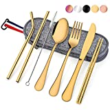8 Piece Travel Cutlery Set, Homikit Stainless Steel Camping Picnic Cutlery Sets, Portable & Reusable Travel Utensils Include Fork, Knife, Spoon, Straws, Chopsticks, Cleaning Brush, Carrying Case