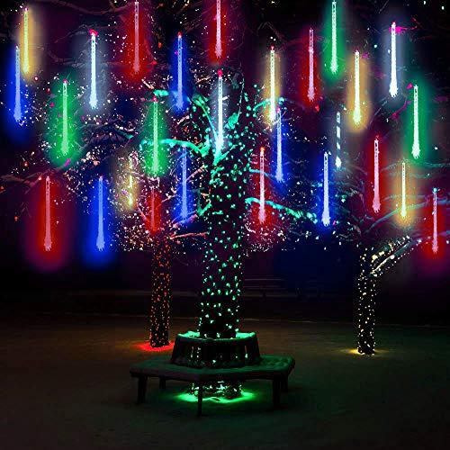 10 Tubes 30CM LED Météore Pluie Lumineuses Guirlandes Solaire,DINOWIN Lumineux Etanche Extérieur Douche Pluie Feux pour Noël Mariage Fête Soirée Maison Arbre Sapin Jardin (Multicolore)