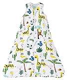 Chilsuessy Saco de dormir para bebé, 2,5 tog, saco de dormir para bebé, de algodón puro, para invierno, sin mangas, 70 – 130 cm, para recién nacidos y niños, jirafa, 90 cm, altura del bebé 85 – 95 cm