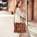 S-ZONE Damen 3-Way Schultertasche Vintage Echtleder Shopper Große Mode Laptop Arbeitstasche Umhängetasche Handtasche Messenger Bag - 2