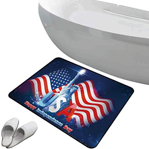 Alfombra de baño antideslizante de felpudo Decoración del 4 de julio Alfombrilla goma antideslizante Hipster Dog con gafas de sol y la bandera de Estados Unidos Comic Absurd Broma Ilustración,azul roj