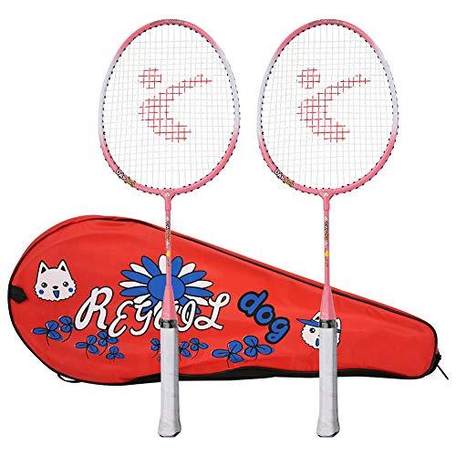 Camidy 1 par de Raquetas de Bádminton para Niños Raqueta de Tenis de Dibujos Animados de Aleación de Aluminio con Bolsa de Transporte para Niños Deportes Al Aire Libre Juego de Ocio