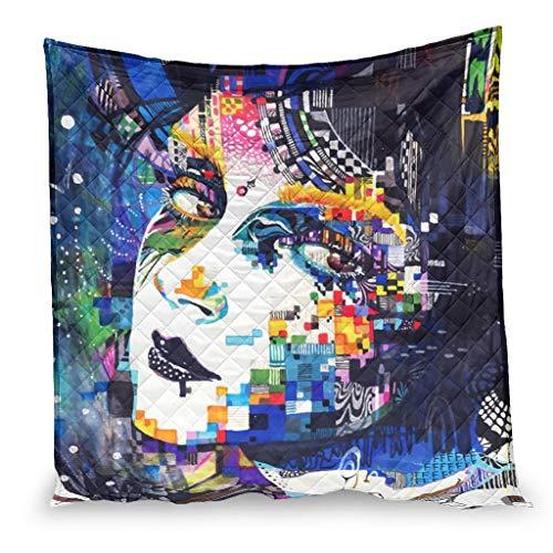 YshChemiy Dibujo de la cara colorida pintura de las niñas mantas de algodón edredón sofá gigante cómodo en relieve colcha colcha blanca 100x150cm