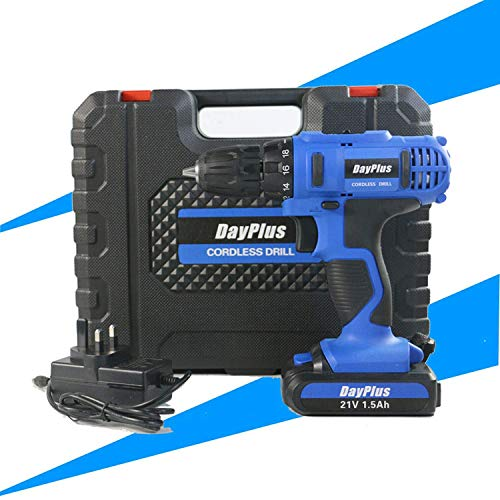 UWY 21V Impact Cordless Drill Set Electric Combi Screwdriver 45N.m Impact Power Tool,Fast Charger,18 + 1 Torque Setting w/Quick-Release Drill Chuck,2-Speed,LED Work Light,29 Bits in Case
