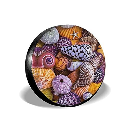 MODORSAN Corlorful Shells Starfish - Cubierta Universal para Llantas de Repuesto, Protectores de Llantas Impermeables a Prueba de Polvo para Jeep, Remolque, RV, SUV y Camiones, 16 Pulgadas