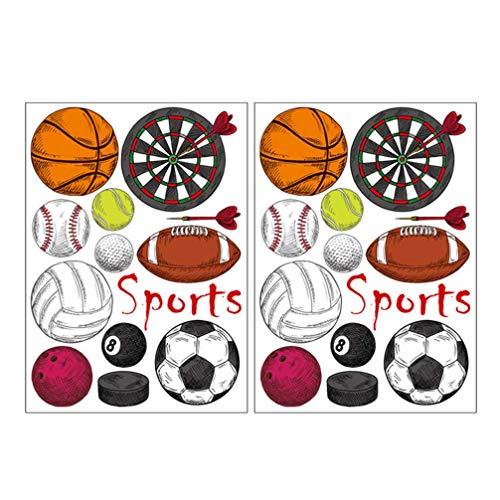 CHUTD Dartscheibe,2 Blätter Sport Wandaufkleber Basketball Rugby Fußball Darts Wandtattoo Abnehmbare Kunst Wandbild für Jungen Zimmer Spielzimmer Kinderzimmer Wanddekoration