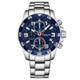 Stuhrling Original Mens Watches - Chronograph Blue Wrist Watch with Date and Stainless Steel Link Bracelet - Sport Watch for Men with Tachymeter and Screw Down Crown for 330 Ft. of Water Resistance