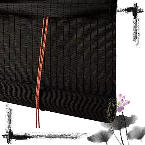 Bamboe Rolgordijnen Bamboe Vouwgordijnen Jaloezieën Houten Jaloezieën - Zwarte Jaloezieën Verdelingsgordijn Lichtfiltering Zonwering Ramen Eenvoudig Te Installeren (Grootte: 80X200CM)