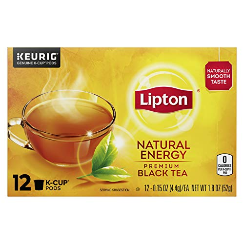 Lipton Natural Energy K-Cup Pods For a Warm Beverage Premium Black Tea Made With Real Tea Leaves, 12 Pods Pack of 6