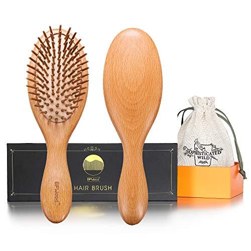BFWood Brosse à cheveux en bois pour massage du cuir chevelu – poignée ergonomique