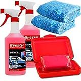 Brestol Reinigungsknete Set5 200 g Knete rot abrasiv + Box + 2X 750 ml Spezial GLEITMITTEL + 2X Poliertuch - Polierknete Lackknete Clay-Bar Auto-Lack-Knete - entfernt Baumharz Insekten...