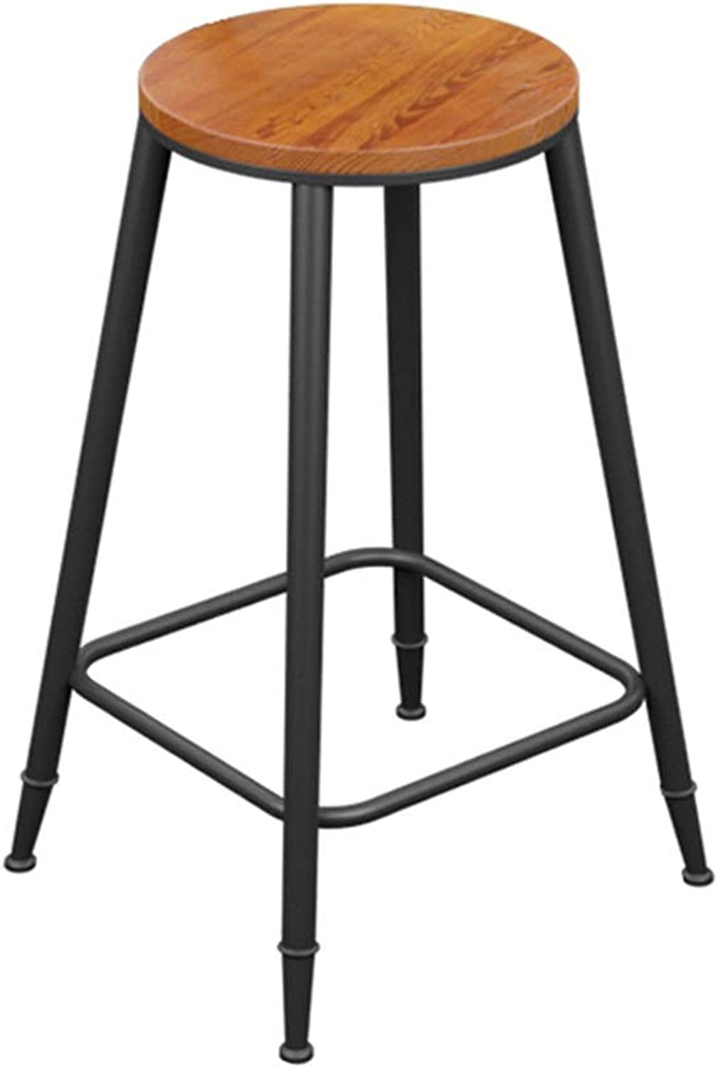 Round Barstool Iron Breakfast Dining Stool for Kitchen Bar Counter Home Commercial Chair High Stool with Wooden Seat LOFT Industrial Style (Size   Height 73cm)