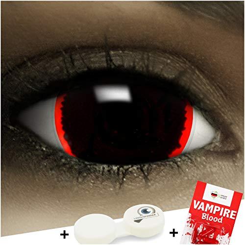 FXCONTACTS Farbige Kontaktlinsen Exorcisim, in schwarz und rot inklusive Kunstblut Kapseln und Kontaktlinsenbehälter, 1 Paar Linsen (2 Stück) weich, ohne Stärke