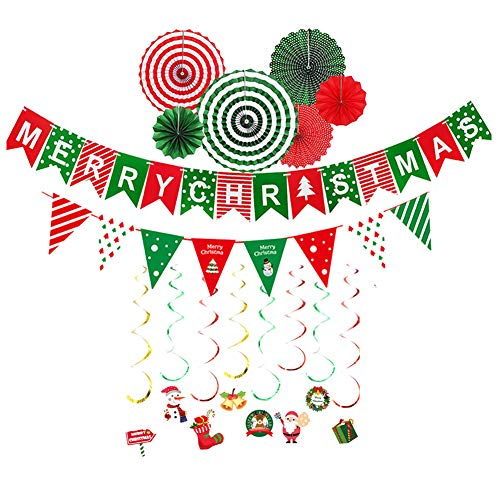 Lazz1on Pack of 4 Merry Christmas Banner DIY Flag Swirl Merry Christmas Santa Snowman Christmas DIY Party Decoration