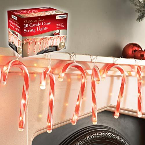 The Christmas Workshop 70039 LED-Lichterkette mit Zuckerstange, Rot/Weiß, 10 Stück