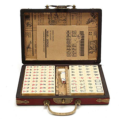 SNIIA 144 tegels Chinese Mahong set draagbaar met Deluxe Retro Style Leather Box voor Home Party (willekeurige patronen in de doos)